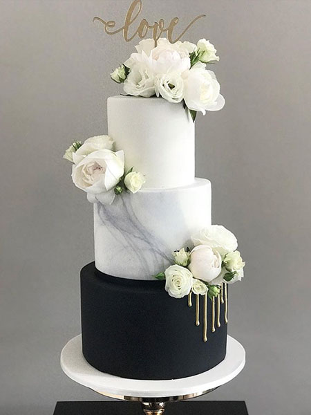Ballara Wedding Cake Tips - 3 tiered black and white marble cake